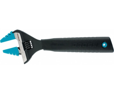 Ключ разводной 250 мм. CrV, тонкие губки, защитные насадки GROSS